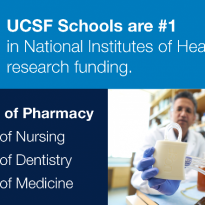 UCSF Schools are #1 in National Institues of Health research funding, School of Pharmacy, School of Nursing, School of Dentistry, School of Medicine, with School of Pharmacy in bold text