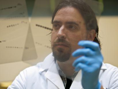 Scientist with DNA gel readout